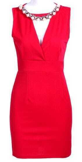 Red V Neck Sleeveless Bead Backless Bodycon Dress