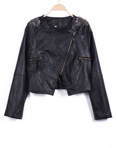 Black Long Sleeve Shoulder Tassel Zipper Crop Jacket