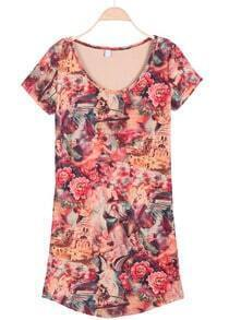 Khaki Short Sleeve Angel Print Floral Dress