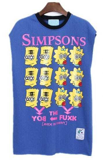 Blue Sleeveless Rivet Cartoon Simpson Print Vest