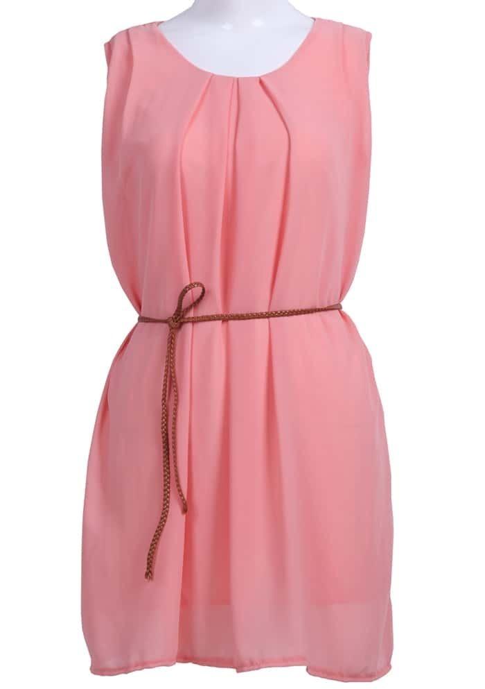 pink neck sleeveless belt chiffon dress shein