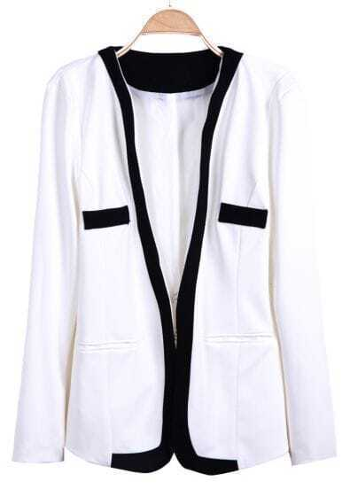 White Long Sleeve Contrast Trims Pockets Suit