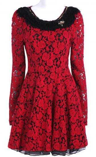 Red Long Sleeve Contrast Mesh Yoke Lace Dress