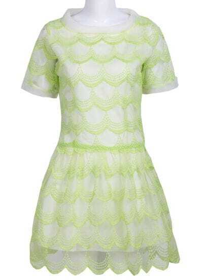 Green Short Sleeve Zigzag Mesh Yoke Dress