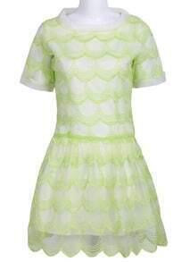 Green Short Sleeve Zigzag Mesh Yoke Dress