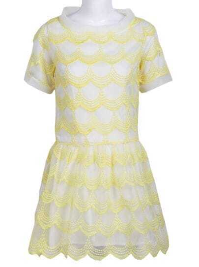 Yellow Short Sleeve Zigzag Mesh Yoke Dress