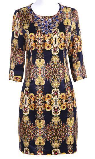 Black Long Sleeve Gemstone Print Rhinestone Dress