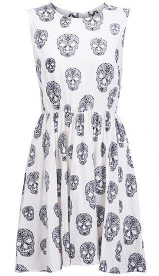 White Sleeveless Skulls Print Pleated Dress