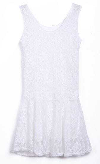 White Straps Sleevelss Lace Skater Dress