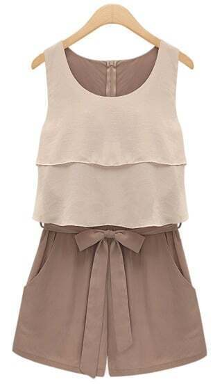 Chocolate Sleevelss Ruffle Bow Waist Chiffon Jumpsuit