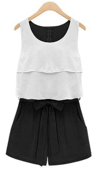 Black and White Sleevelss Ruffle Bow Waist Chiffon Jumpsuit