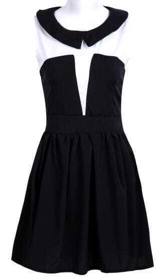 Black Sleeveless Contrast Peter Pan Collar A-line Dress