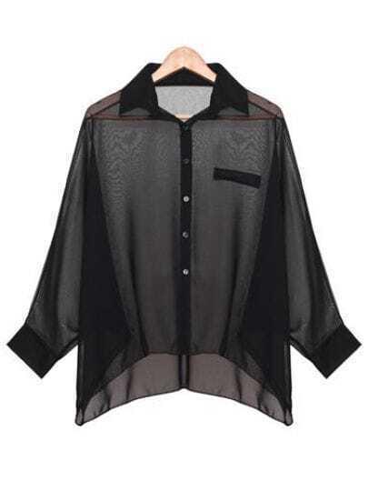 Black Batwing Sleeve Sheer Asymmetrical Chiffon Blouse