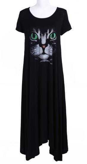 Black Short Sleeve Cat Face Print Dress