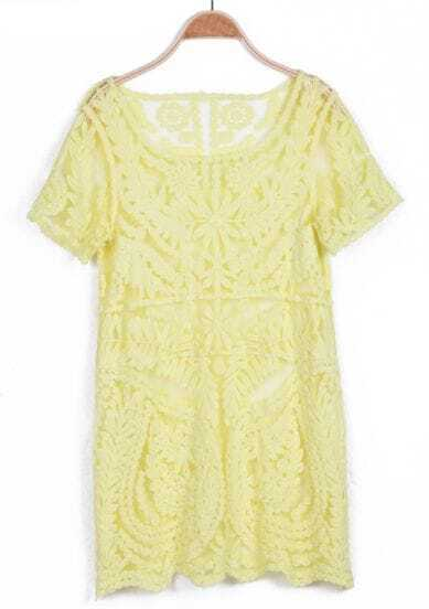 Yellow Short Sleeve Sheer Crochet Lace Dress