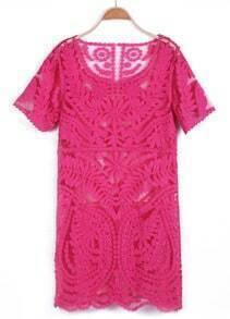 Red Short Sleeve Sheer Crochet Lace Dress