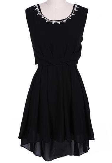 Black Sleeveless Rhinestone High Low Chiffon Dress