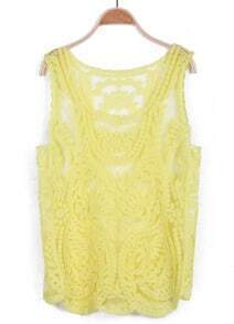 Yellow Sleeveless Hollow Crochet Lace Vest