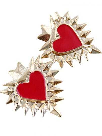 Red Heart Gold Rivet Stud Earrings