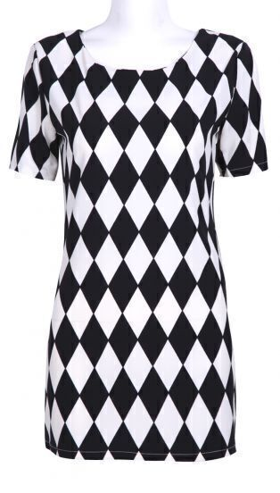 Black White Diamond Plaid Short Sleeve Chiffon Dress