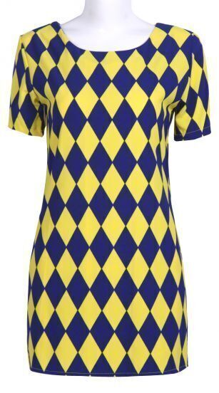 Yellow Blue Diamond Plaid Short Sleeve Chiffon Dress