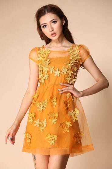 Dark Yellow Short Sheer Sleeve 3D Flowers A-line Dress