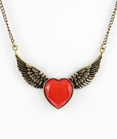 Red Heart Gemstone Retro Gold Wing Necklace