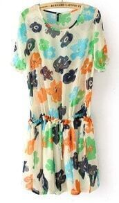 Beige Short Sleeve Flowers Print Drawstring Waist Chiffon Dress