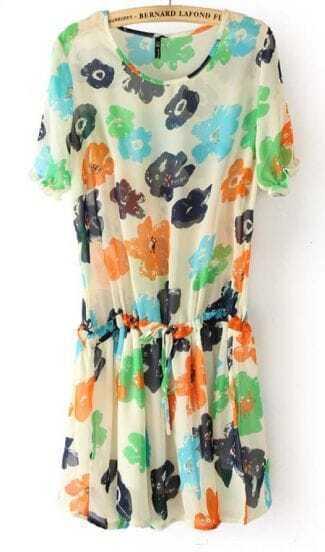 Beige Short Sleeve Flowers Print Drawstring Waist Chiffon Dress