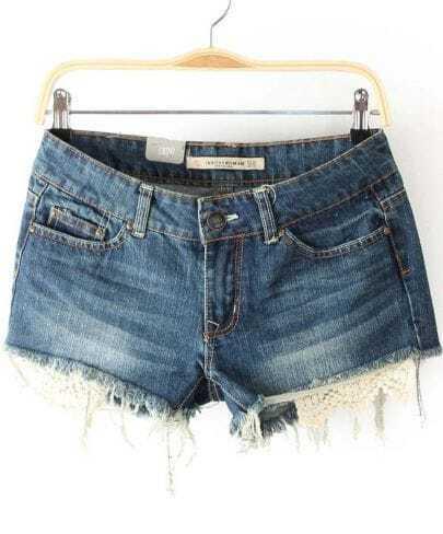 Blue Frayed Contrast Lace Hem Denim Shorts