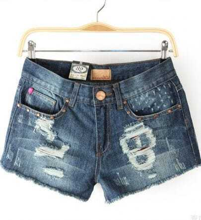 Blue Destroyed Skull Denim Shorts