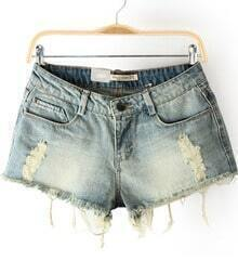 Light Blue Blenched Frayed Hem Denim Shorts