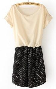 Beige Short Sleeve Heart Print Bandeau Dress