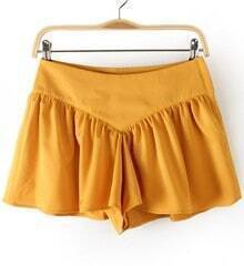 Yellow Zipper Pleated Loose Skirt Shorts