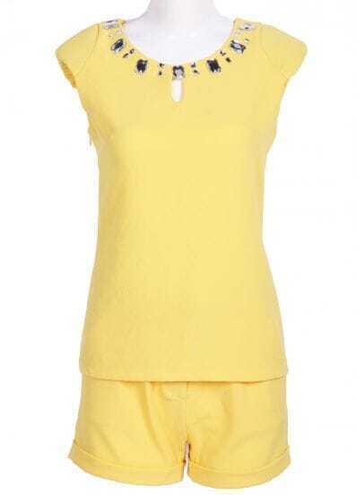 Yellow Sleeveless Rhinestone Hollow T-Shirt With Shorts