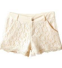 Beige Retro Style Lace Shorts