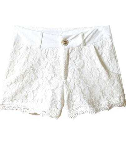 White Retro Style Lace Shorts -SheIn(Sheinside)