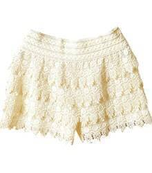 Beige Layered Crochet Lace Shorts