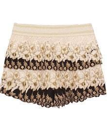 Black Layered Crochet Gold Silk Embroidery Shorts