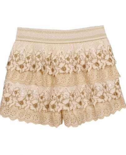 Apricot Layered Crochet Gold Silk Embroidery Shorts