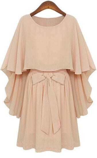 Nude Round Neck Bow Tie Waist Capes Top Chiffon Dress