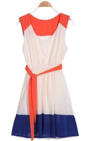 Red Apricot Blue Sleeveless Belt Pleated Dress