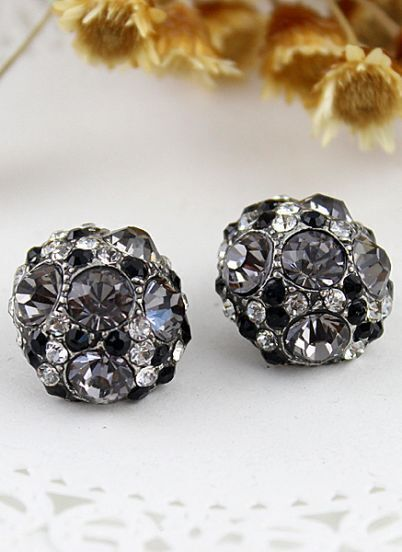 Black Crystal Silver Hemisphere Stud Earrings