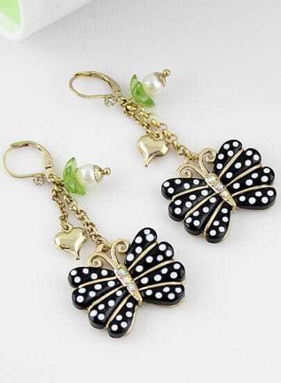 Black Polka Dot Butterfly Gold Heart Earrings