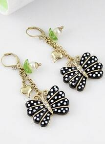 Black Polka Dot Butterfly Gold Heart Earrings