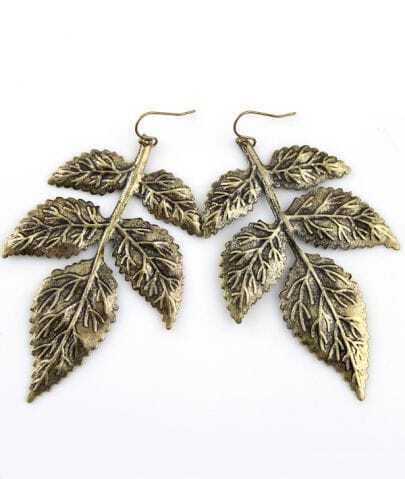 Retro Gold Leaf Dangle Earrings