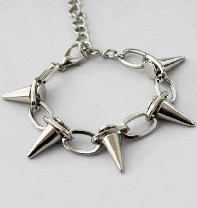 Silver Rivet Link Bracelet