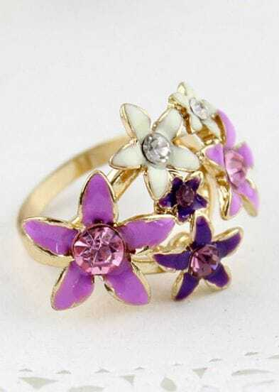 Multi Crystal Flowers Gold Ring