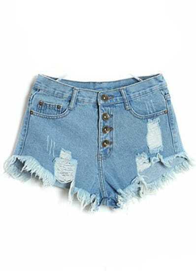 Blue High Waist Ripped Tassel Denim Shorts