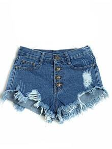 Navy High Waist Ripped Tassel Denim Shorts